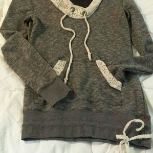 Tops - Light heather gray lace hooded sweater.